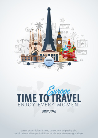 Travel to Europe. Time to Travel. Banner with airplane and hand-draw doodles on the background. Vector Illustration Ilustracja