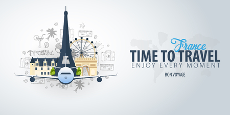 Travel to France. Time to Travel. Banner with airplane and hand-draw doodles on the background. Vector Illustration Stock Illustratie