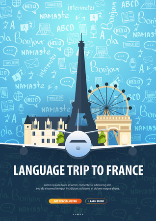 Language trip, tour, travel to France. Learning Languages. Vector illustration with hand-draw doodle elements on the background Reklamní fotografie - 124817995