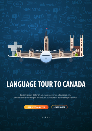 Language trip, tour, travel to Canada. Learning Languages. Vector illustration with hand-draw doodle elements on the background Foto de archivo - 124818000