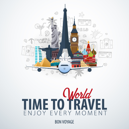Travel Around the World. Time to Travel. Banner with airplane and hand-draw doodles on the background. Vector Illustration Ilustracja