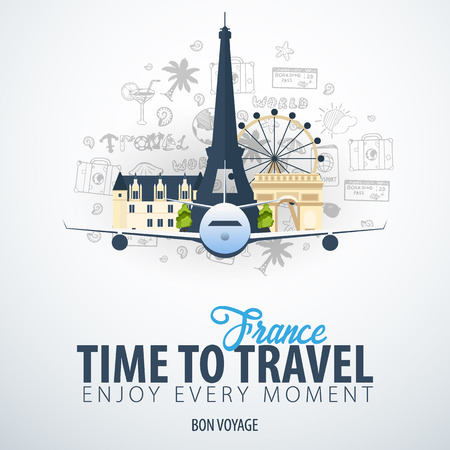 Travel to France. Time to Travel. Banner with airplane and hand-draw doodles on the background. Vector Illustration Ilustracja