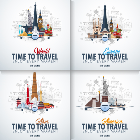 Travel to Europe, Asia and America. Time to Travel. Banner with airplane and hand-draw doodles on the background. Vector Illustration Ilustracja
