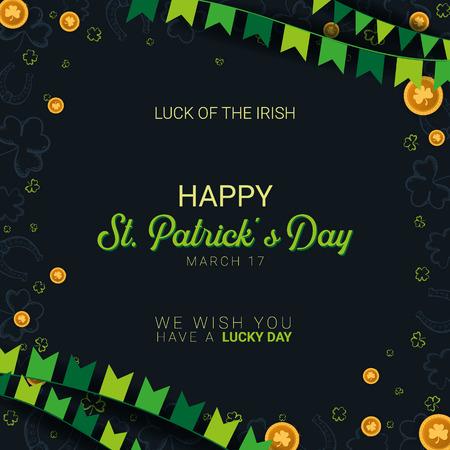 Saint Patricks Day banner. Clover leaves with coins on dark background. Vector Illustration Banque d'images - 124768879