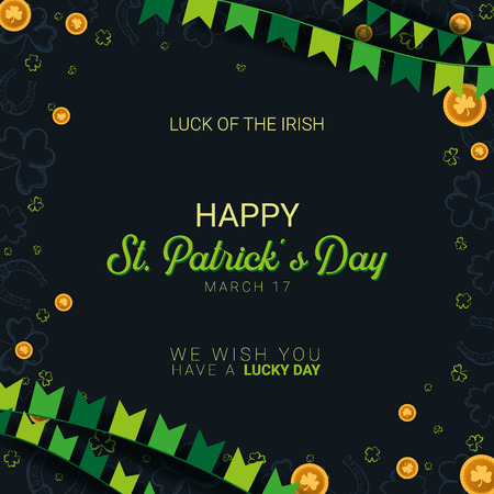 Saint Patricks Day banner. Clover leaves with coins on dark background. Vector Illustration