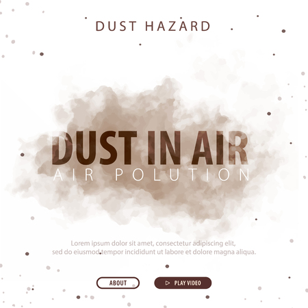 Dust in Air. Dust hazard. Polluted air. Vector Illustration.