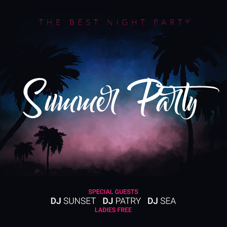 Summer Party. Tropical background with palms, sky and sunset. Summer Time