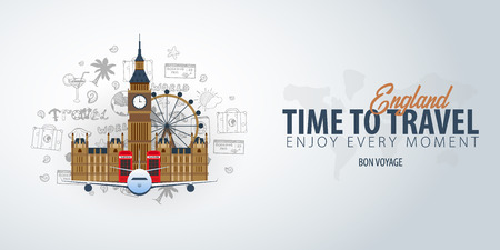 Travel to England. Time to Travel. Banner with airplane and hand-draw doodles on the background. Vector Illustration 일러스트