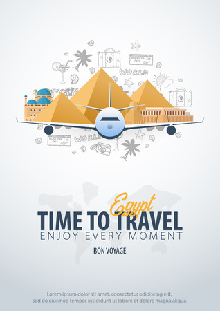 Travel to Egypt. Time to Travel. Banner with airplane and hand-draw doodles on the background. Vector Illustration 일러스트