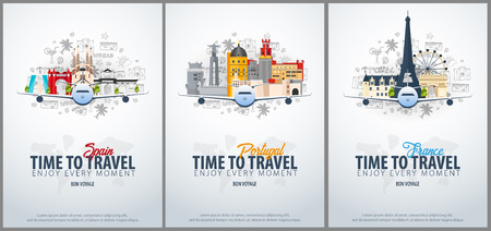Travel to Spain, Portugal and France. Time to Travel. Banner with airplane and hand-draw doodles on the background. Vector Illustration