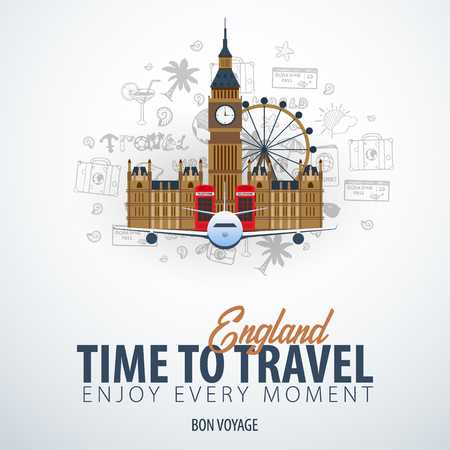 Travel to England. Time to Travel. Banner with airplane and hand-draw doodles on the background. Vector Illustration Illustration