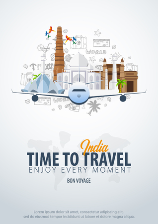 Travel to India. Time to Travel. Banner with airplane and hand-draw doodles on the background. Vector Illustration