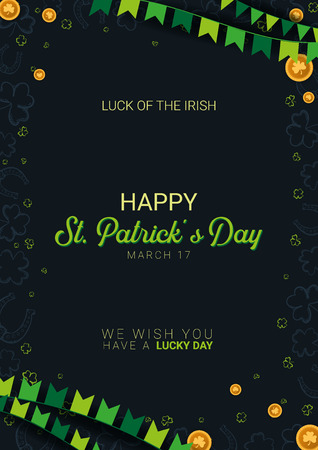 Saint Patricks Day banner. Clover leaves with coins on dark background. Vector Illustration Banque d'images - 124602691