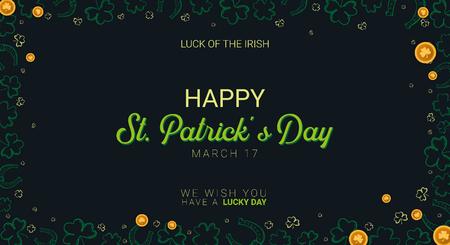 Saint Patricks Day banner. Clover leaves with coins on dark background. Vector Illustration Banque d'images - 124602694