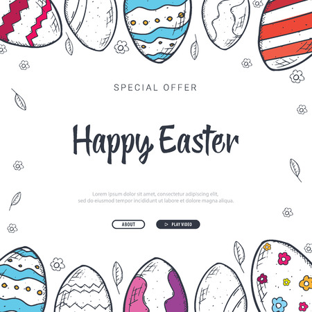 Happy Easter background with traditional sketches decorations. Easter greeting with colored eggs, rabbit. Ilustração