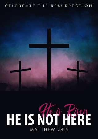 He is risen. Christian easter scene. Saviours cross on dramatic sunrise scene. Illustration
