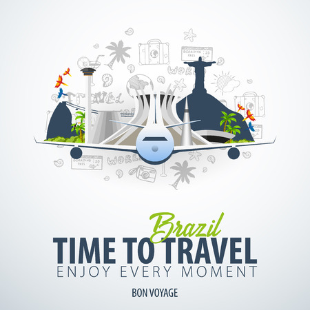 Travel to Brazil. Time to Travel. Banner with airplane and hand-draw doodles on the background. Vector Illustration.