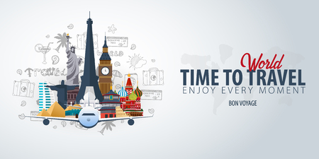 Travel Around the World. Time to Travel. Banner with airplane and hand-draw doodles on the background. Vector Illustration Stock Illustratie
