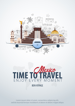 Travel to Mexico. Time to Travel. Banner with airplane and hand-draw doodles on the background. Vector Illustration