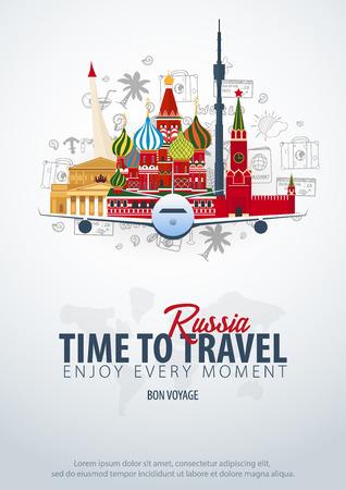 Reise nach Russland. Zeit zu reisen. Banner mit Flugzeug und handgezeichneten Kritzeleien im Hintergrund. Vektorillustration