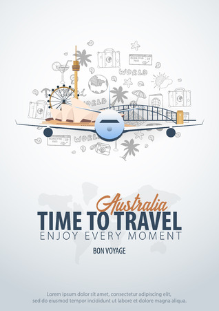 Travel to Australia. Time to Travel. Banner with airplane and hand-draw doodles on the background. Vector Illustration