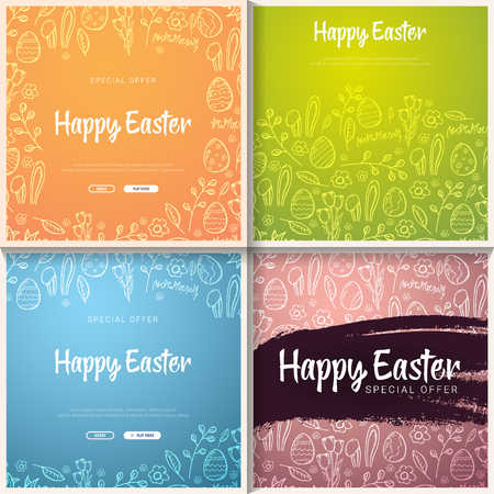 Set of Happy Easter banners. Easter Eggs. Doodle hand draw background. Vector illustration. Ilustração