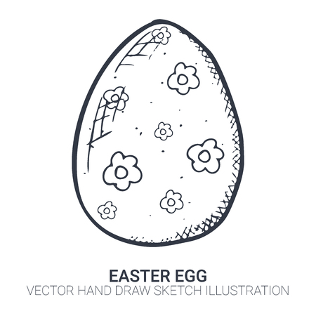 Easter egg in doodle style. Hand drawn illustration. Banner background.