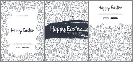 Set of Happy Easter backgrounds with traditional sketches decorations. Easter greeting with colored eggs, rabbit. Ilustração
