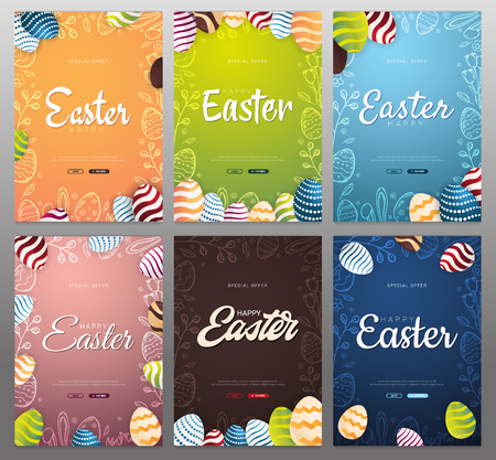 Set of Happy Easter backgrounds with traditional sketches decorations. Easter greeting with colored eggs, rabbit. Illustration