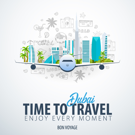 Travel to Dubai, UAE. Time to Travel. Banner with airplane and hand-draw doodles on the background. Vector Illustration.