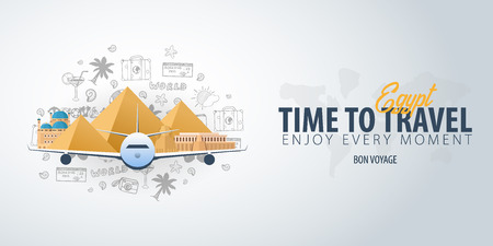 Travel to Egypt. Time to Travel. Banner with airplane and hand-draw doodles on the background. Vector Illustration.