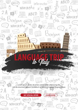 Language trip, tour, travel to Italy. Learning Languages. Vector illustration with hand-draw doodle elements on the background.