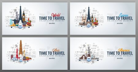 Travel to Europe, Asia and America. Time to Travel. Banner with airplane and hand-draw doodles on the background. Vector Illustration.
