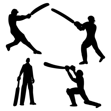 Cricket players silhouette. Batsman and bowler. Vector Illustration.