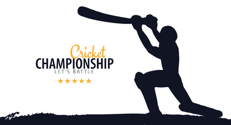 Cricket Championship banner or poster, design with players and bats. Vector illustration Vettoriali