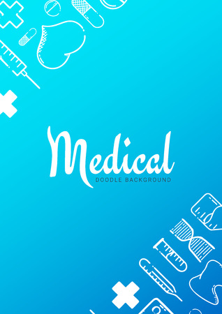 Pharmacy and Medical banner with doodle background. Pills, Vitamin tablets, medical drug. Vector Illustration.