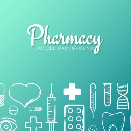 Pharmacie et bannière médicale avec fond de griffonnage. Pilules, comprimés de vitamines, médicament médical. Illustration vectorielle. Vecteurs
