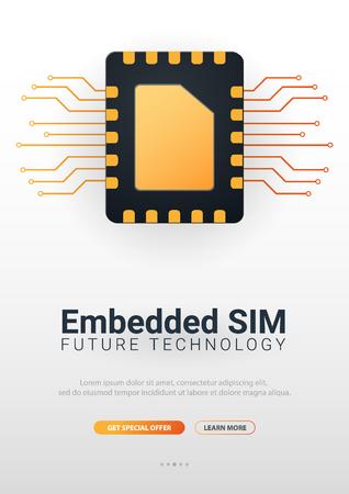 Embedded SIM. eSIM - electronic sim phone new mobile communication technology. Vector Illustration 向量圖像