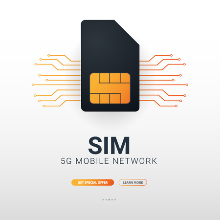 Mobile Sim Card. Mobile Network. Technology Concept. Vector illustration.