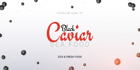 Black Caviar banner. Delicious seafood background. Caviar vector illustration. Natural and healthy luxury food. Design for fish menu. Vector Illustration.