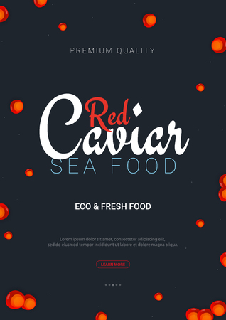 Red Caviar banner. Delicious seafood background. Caviar vector illustration. Natural and healthy luxury food. Design for fish menu. Vector Illustration