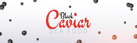 Black Caviar banner. Delicious seafood background. Caviar vector illustration. Natural and healthy luxury food. Design for fish menu. Vector Illustration Illustration
