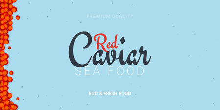Red Caviar banner. Delicious seafood background. Caviar vector illustration. Natural and healthy luxury food. Design for fish menu. Vector Illustration Ilustracja