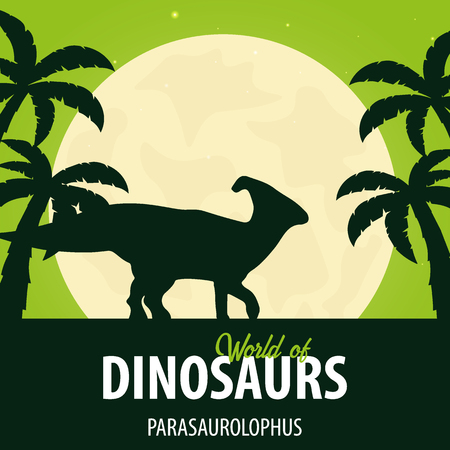 Banner World of dinosaurs. Prehistoric world. Parasaurolophus. Cretaceous period.