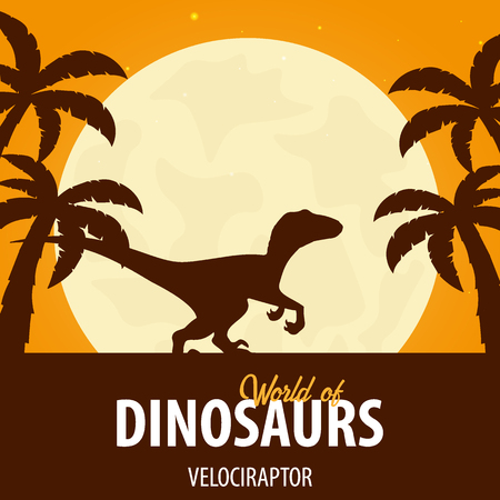 Banner World of dinosaurs. Prehistoric world. Velociraptor. Cretaceous period.