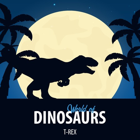 Banner World of dinosaurs. Prehistoric world. T-rex. Cretaceous period.