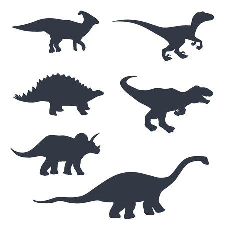 Dinosaur silhouettes set. Vector illustration isolated on white.