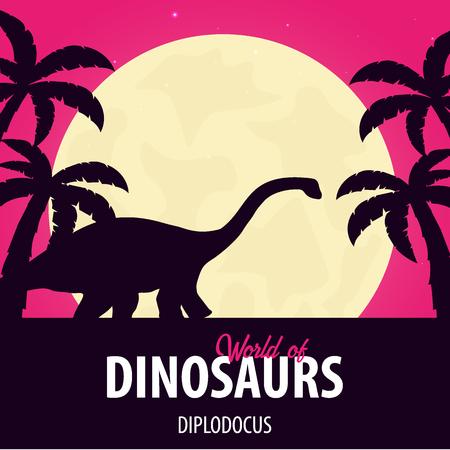 Banner Świat dinozaurów. Świat prehistoryczny. Diplodok. Okres jurajski. Ilustracje wektorowe