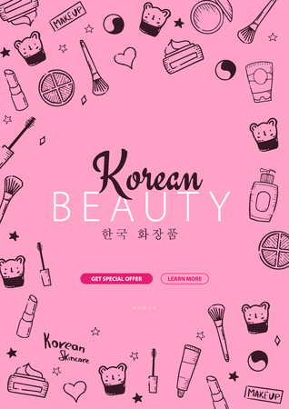 Korean cosmetics. K-Beauty banner with hand draw doodle background. Skincare and Makeup. Vector Illustration Illustration