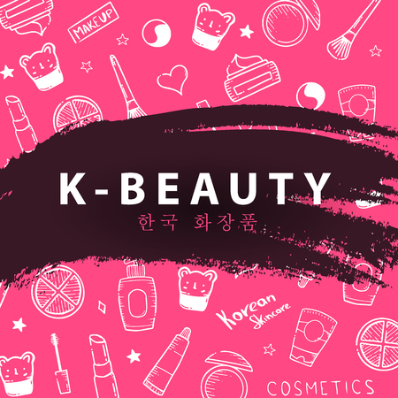 Korean cosmetics. K-Beauty banner with hand draw doodle background. Skincare and Makeup. Vector Illustration Stock Illustratie